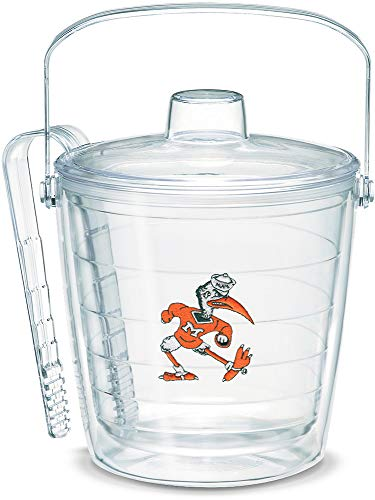 (Tervis 1053423 Miami Hurricanes College Vault Logo Ice Bucket with Emblem and Clear Lid 87oz Ice Bucket, Clear)