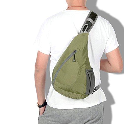 Aosbos Mochila Bandolera Ligera Impermeable y Plegable para Deporte al Aire Libre 10L(negro) aceitunado