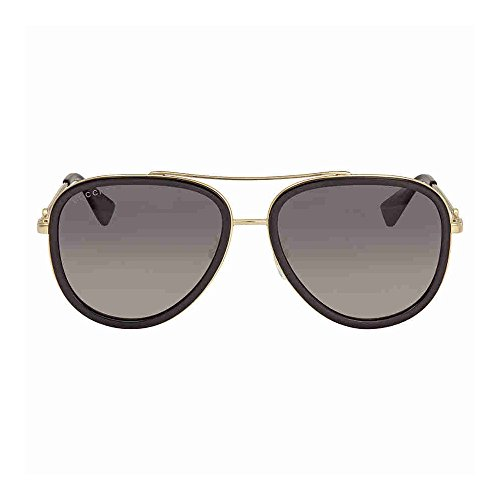 Gucci GG 0062S 011 Black Gold Metal Aviator Sunglasses Grey Gradient Polarized Lens by Gucci