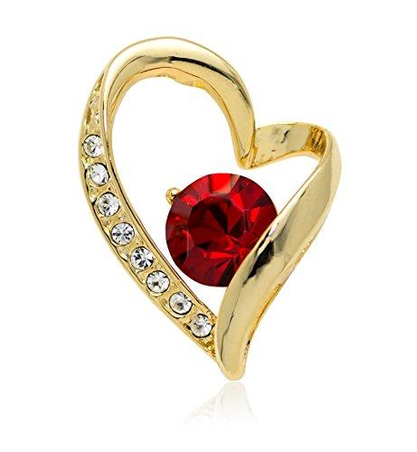 Akianna Swarovski Element Crystals Valentine Heart Small Pin Brooch Gold-Tone ()