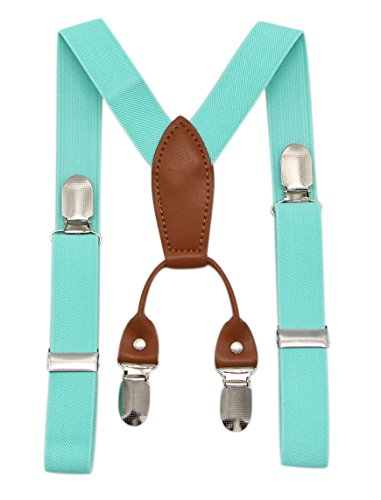 JAIFEI Toddler Kids 4 Clips Adjustable Suspenders and Matching Bow Tie Set Brown