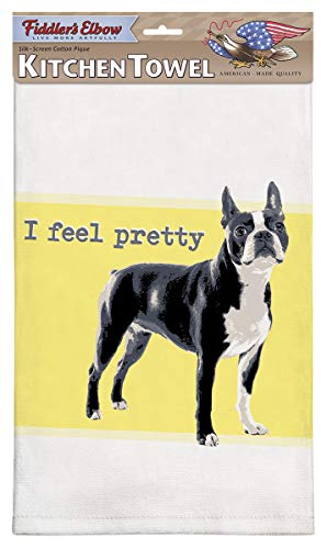 Fiddler's Elbow I Feel Pretty Boston Terrier Kitchen Towel, 100% Cotton Dog Themed Towel, Eco-Friendly Dish Towel with Hanging Loop, Boston Terrier Lover Gift (Kitchen Terrier Towel)