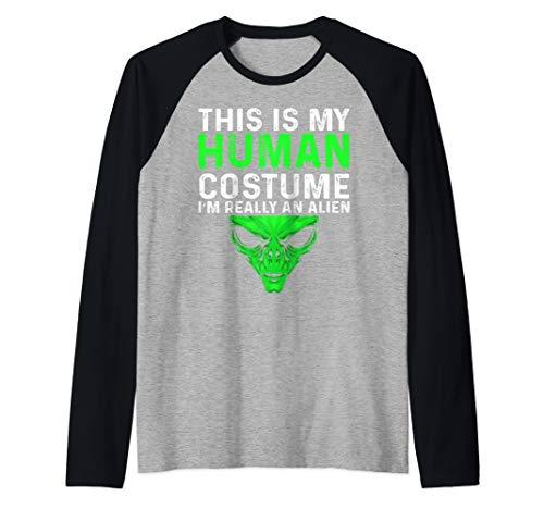 (This Is My Human Costume I'm Really an Alien Halloween Raglan Baseball)