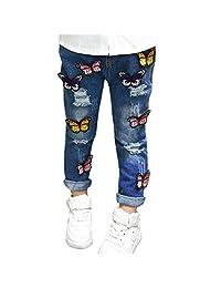 Evelin LEE Baby Girls Cute Hole Jeans Butterfly Denim Pants Trousers