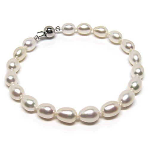 Oval Freshwater Cultured Pearl Bracelet (HinsonGayle AAA Handpicked 8-8.5mm White Oval Freshwater Cultured Pearl Bracelet (Sterling Silver)-7.5 in length)