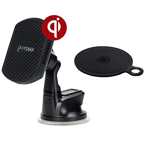 PITAKA New Magnetic Wireless Charging Windshield Car Mount[Suction Cup Magmount Qi]-Premium Luxury 360 Degree Rotation Fast Charge Suction Cup Phone Holder for Qi Smartphones (New Suction Cup)