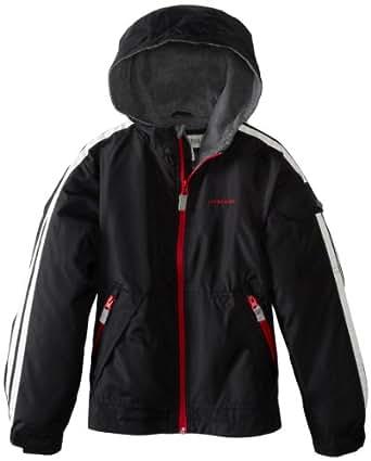 London Fog Big Boys Midweight Jacket with Warm Hood, Black, 10/12