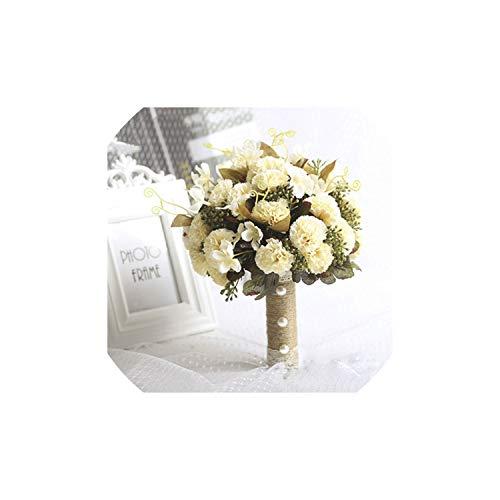 Fantasticlife06 New Purple White Wedding Bouquet Handmade Artificial Flower Rose Buque Casamento Bridal Bouquet for Wedding Decoration,As Pic1