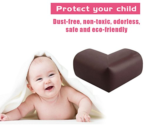LURICO 4 Pieces Set Corner Guard Home Furniture Safety Bumper Foam Toddler Baby Proof Table Protector Pad Childproof Fireplace Guard (Coffee Brown)