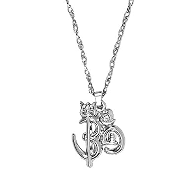 Shining jewel silver pendant necklace with trishul and shivling for shining jewel silver pendant necklace with trishul and shivling for men sj2321 mozeypictures Choice Image