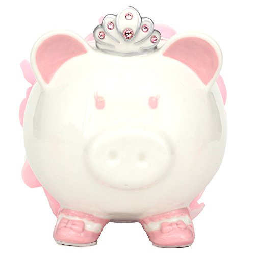 Swarovski with Crown Princess Porcelain Piggy Bank for Kids by FAB Starpoint (Pink) (Girl Bank Baby Piggy)