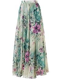 Annflat Women's Boho Floral Print High Waist Pleated...