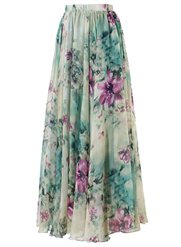 Annflat Women's Boho Floral Print High Waist Pleated Chiffon Long Maxi Skirt Medium Light Green (Green Floral Skirt)
