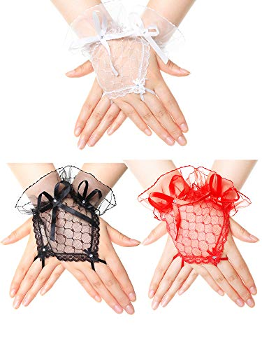 (3 Pairs 1950s Bridal Gloves Fingerless Lace Gloves with Bowknot Sun Protection for Women Wedding)