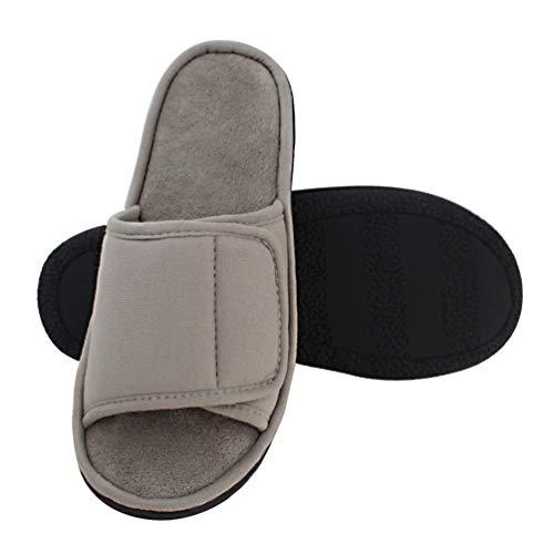 Magtoe Men Washable Micro Suede Adjustable Memory Foam Home Open Toe Indoor Slippers (13-14 B(M) US/X-Large, Light Grey)