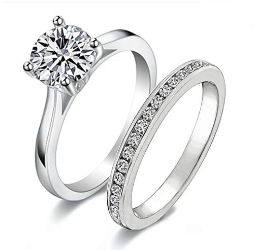 Venetia Realistic 1 2 Carats Simulated Diamond Solitaire Ring Band Set Hearts Arrows Cut 925 Silver ()