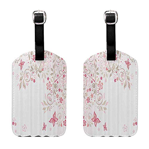 Unique Luggage Tag Floral,Curly Branches Wildflowers Butterflies Dots Romantic Bridal Wedding Theme,Pink Cocoa Light Pink Getaway Luggage Tag
