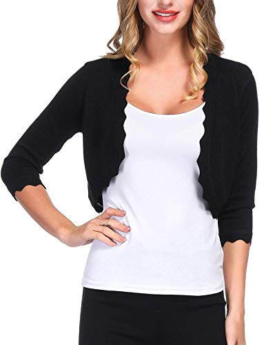 Vintage Half Sweaters Cardigan for Women Short Sleeve(L,Black)