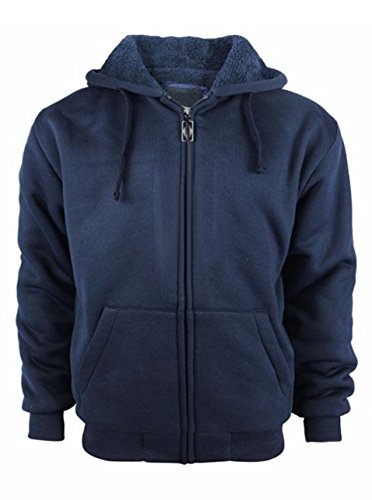 Mens Casual Fashion Active Jersey Slim Fit Hooded Zip Front Jacket Navy Medium