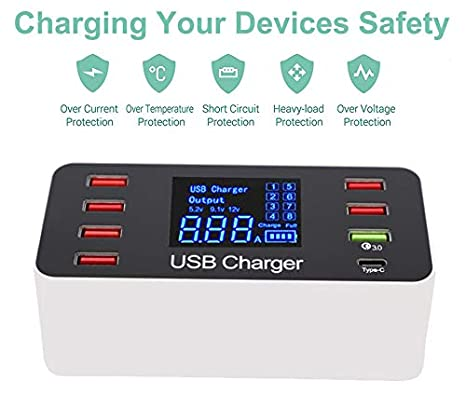 Multi USB 8-Port Smart Fast Desktop Hub Wall Charger Charging Station Quick Charge 3.0 USB Type C Port With LED Display Compatible with Apple Samsung ...