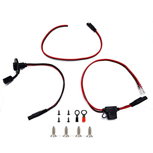 SolarEnz SAE Kit Power Socket Sidewall Port,SAE Waterproof Quick Connect Panel Mount Universal for Motorcycle Generator Battery Charge Connector Cable with 10A Fuse and Ring for Motorcycle Boat RV