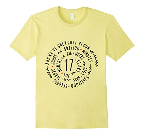 Mens 17 Years Anniversary Statement T-Shirt for Her or Him 3XL Lemon