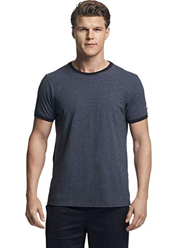 Russell Athletic Men's Essential Cotton Ringer T-Shirt, Heather/Black, -