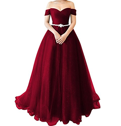 Off Shoulder Princess Tulle Prom Dress Long Beaded Ball Gown For Party Burgundy Size 28 ()