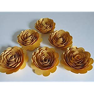 "50th Anniversary Decorations, 6 Metallic Gold Roses, 3"" Big Paper Flowers Set, Golden Years Celebration Party, 100th Birthday Bash, Wedding Reception 114"