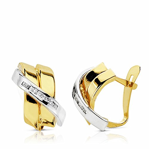 Boucled'oreille 12mm 18k bicolor d'or. bandes zircons [AA2190]