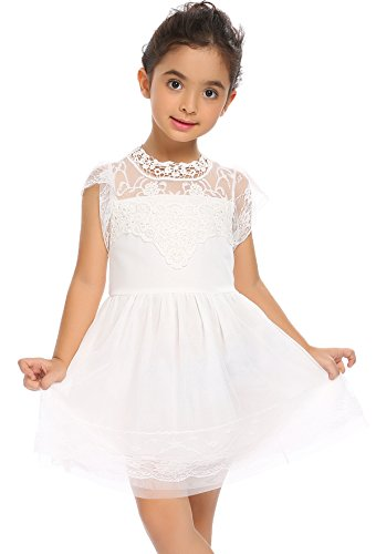 Baby girl's party sleeveless dress white - 6