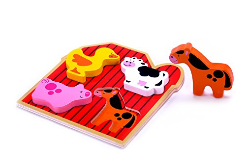 Farm Animals Chunky Puzzle - Cubbie Lee Small 4 Piece Barnyard Farm Animals Wooden Chunky Puzzle Babies Preschool Toddler Age w/ Easy-Hold Colorful Solid Wood Pieces. Simple & Educational Baby, 1 & 2 Year Olds