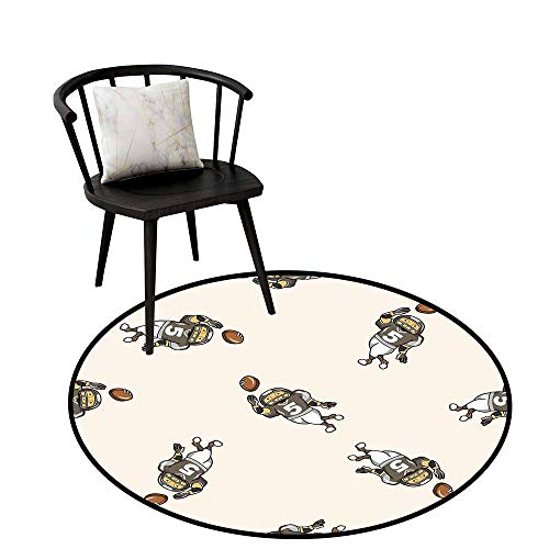 Dining Room Bedroom Carpet Floor Mat Football,Pattern of Cartoon Player Running with The Ball Training for The Game Rug,Taupe Brown White,Dining Room Bedroom Carpet Floor Mat 16
