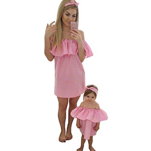 Koly Familia mamá y yo mujeres verano fuera hombro Slash cuello verano mini vestido Rosado