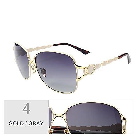 TL-Sunglasses Gafas de Sol de Metal Grande Mujer Lentes ...