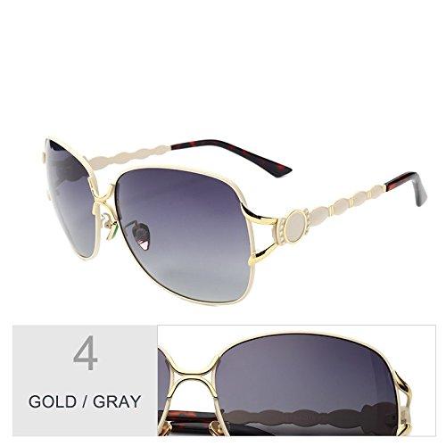 gafas metal de grande gafas vintage marca Gafas sol de nariz mujer de pad Sunglasses de tonos de progresivas TL gafas Gold polarizadas Giada negro sol de gris Gray lentes wT6OUYnXq