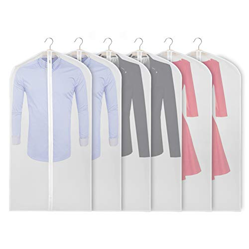 Garment Bags Storage - Zilink Garment Bags for Storage 48 inch Dust-Proof Suit Cover with Sturdy Zipper (Set of 6) for Dress Coats Jackets Sweater Closet Storage