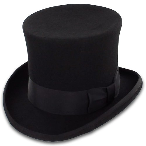 Belfry John Bull Theater-Quality Mens Wool Felt Top Hat, Black, (Wool Top Hat)