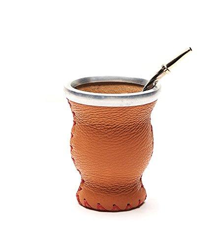 Balibetov [NEW] Leather & Glass Yerba Mate Gourd set (Mate cup) with Yerba Mate Bombilla (straw) (Orange) ()