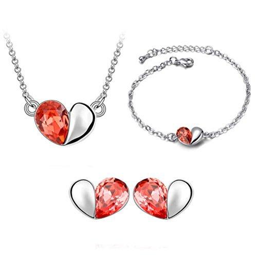 Gift for Girls Silver-tone Love Heart Swarovski Elements Jewelry Set, Australia Import Crystal Necklace, Bracelets, Earrings Ensemble Fashion Jewelry ()