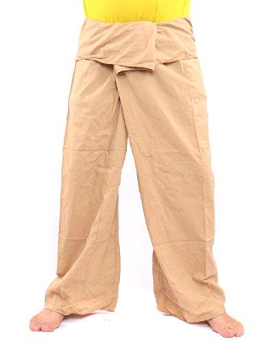 jing shop Men's Thai Fisherman Pants Cotton Solid Color with One Side Pocket X-Long Khaki ()