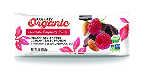 Raw Rev Organic Superfood Bar, Chocolate Raspberry Truffle, 1.8 Ounce Bar (Pack of 12) 7g of Protein, 4g of Fiber, Vegan, Raw, Organic, Plant-Based, Gluten-Free, Fruit, Nut, & Seed Bars