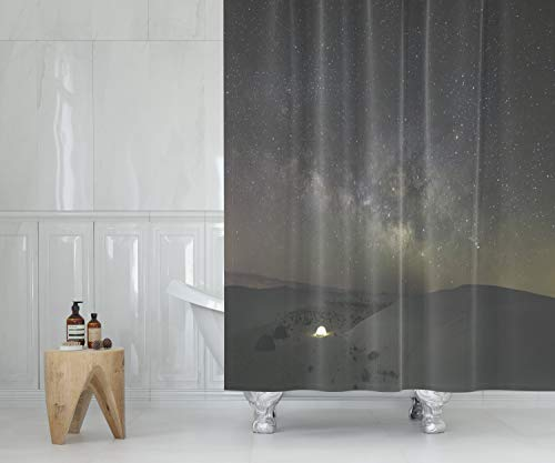 Crannel Waterproof Fabric Shower Curtains Hooks Wide Angle Shot The Milky Way Galaxy Taken Low Moon Night in April The Location Our was White 78X72inches Farmhouse Shower Curtain Liner Bathroom ()