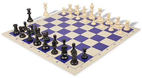 Standard Club Plastic Chess Set Black & Ivory Pieces with Blue Roll-up Chess Board ()