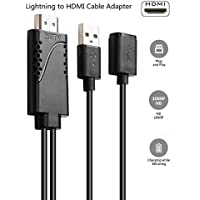 Lightning to HDMI Cable Adapter, Veetop Plug and Play Lightning Digital AV Adapter With 1080P Video Audio Output for iPhone Samsung iPad, MHL to HDMI Mirroring Cable to TV Projector Monitor(5.9FT)