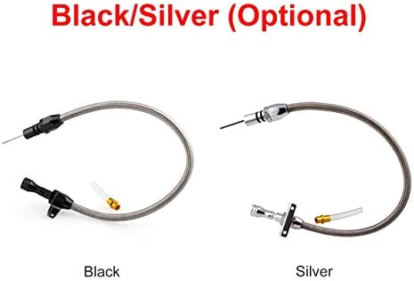 柔軟なステンレス鋼350伝送ディップスティック変更530 mmテストディップスティックTH350トラニーSBC BBCトランスシェビー-ブラック