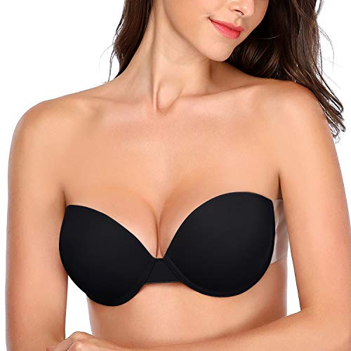 JOATEAY Women's Strapless Self Adhesive Bra Reusable Backless Sticky Push Up Bra Invisible (Black, Cup DD)