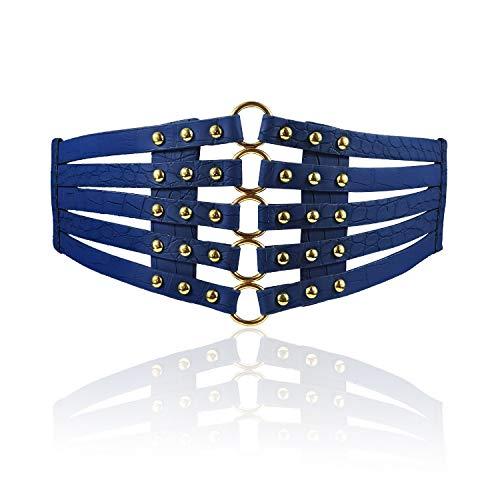 Fashion Women's PU Leather Wide Waist Belt Hollow Out Rivets Stretch Cinch Waistband