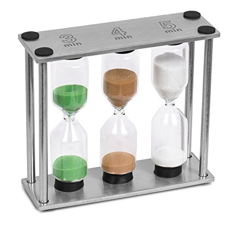 Internet's Best Stainless Steel Sand Timer | 3, 4, 5 Minutes | Colorful Hourglass Sand Clock Timers Kitchen | 3 in 1 | Small | Green Brown White