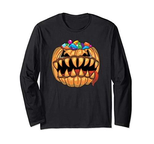 Loot Filled Pumpkin (Monster Halloween Pumpkin Candy Filled Tricky Treat T-Shirt Long Sleeve)